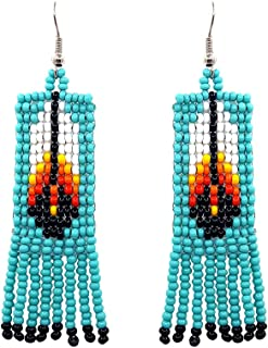 Handmade Native American Style Tribal Seed Bead Feather Pattern Fringe Dangle Earrings (Turquoise)