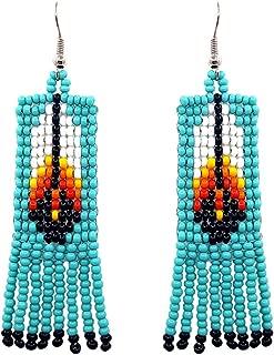 Mia Jewel Shop Handmade Native American Style Tribal Seed Bead Feather Pattern Fringe Dangle Earrings (Turquoise)