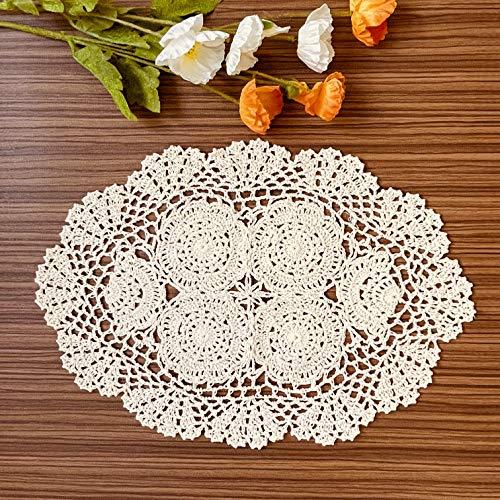 COOKY Lace Doilies Handmade Crochet Cloth Placemats 2pc, Vintage Decorate Floral...