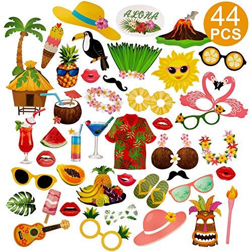 SAVITA 44 Stück Luau Photo Booth Requisiten Hawaii Themed Party Supplies für Geburtstage Tropical Tiki Summer Beach Pool
