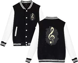 Ainlgchoo! Varsity Jacket Letterman Jacket Baseball Uniform Jacket Sport Coat with Music Note Stripe Support Graphic
