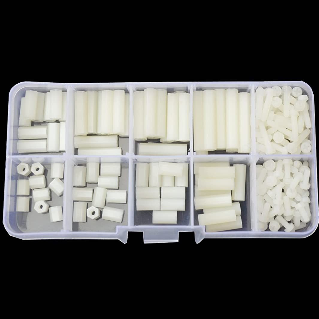 M2.5 Nylon Hex Standoff Plastic Thread Motherboard Spacer Prototyping Accessories For PCB, Quadcopter Drone, Computer & Circuit Board Assortment Kit (M2.5 Female ; White)