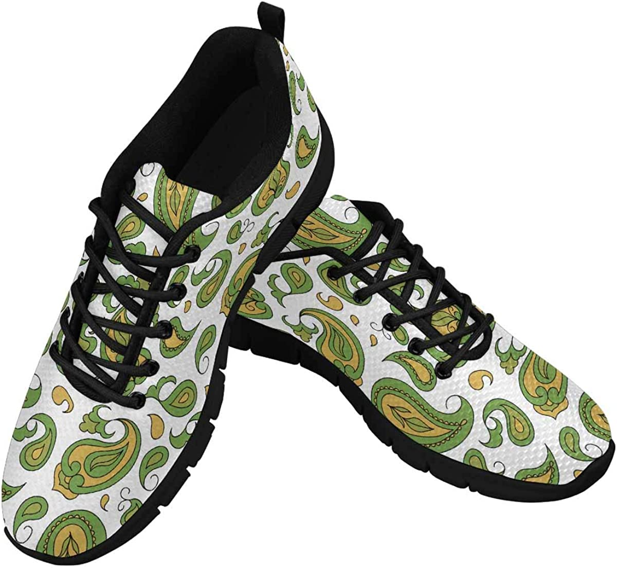 InterestPrint Paisley Pattern Traditional Ethnic Women's Athletic Mesh Breathable Casual Sneakers Fashion Tennis Shoes