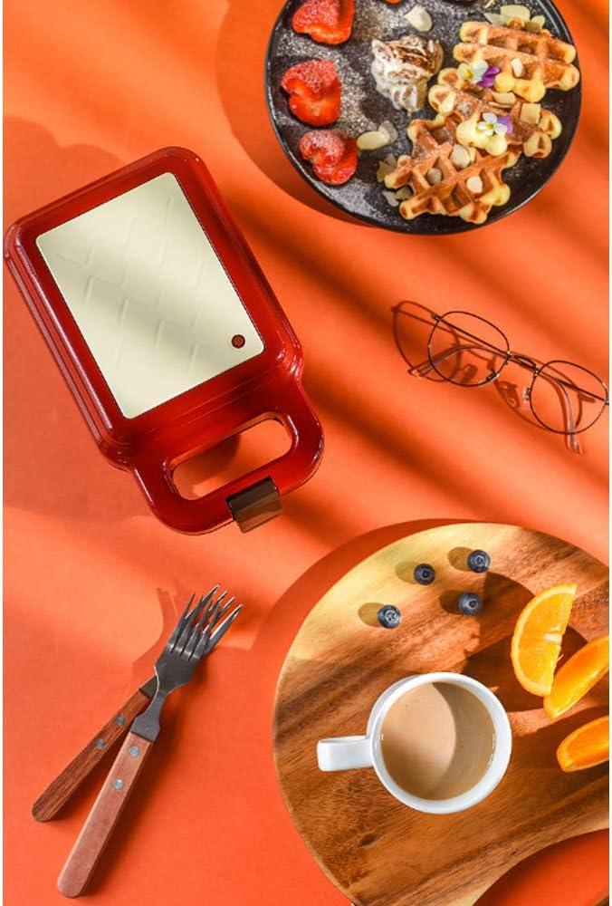 Gaufrier électrique, Petit déjeuner Sandwich Machine avec 2 Types de Cuisson antiadhésives Pan Double Côté Chauffage, Gaufres Fer Machine, gâteau d'oeuf Four Pan,Rose Red