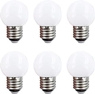 LED電球 消費電力1W 50lm 口金E26 G45 昼白色5000K 小型電球 シャンデリア 10W形相当 6個入 省エネ 電気代節約 ミニボール タイプ 看板球 ボール電球 防雨型 G型タイプ (昼白色)