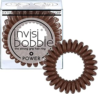 Invisibobble Power Traceless Hair Ties, Extra Strong Grip for Think Hair - Pretzel Brown (Pack of 3)