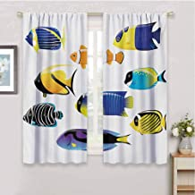 Gloria Johnson Fishcurtains for bedrooVarious Types of Sea Creatures with Atlantic Cod Bonito Palette Surgeonfish Imagesoundproof curtainMulticolor63 x 63 inch