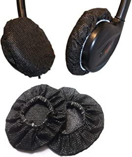 200pcs Stretchable Headphone Earpad Covers/Disposable Sanitary Replacement Ear Covers for Headphones Black (9cm)