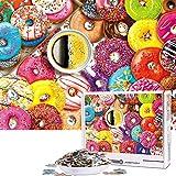 Cuteefun Puzzles para Adultos 1000 Piezas Puzzle Comida Puzzle Café y Donuts Puzzle para Niños Descompresión y Regalo