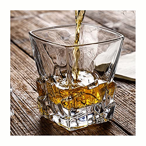 Whisky Glass, Non-Lead Crystal Whiskey Glasses, Barware for Whisky Lovers, Set of 2,F