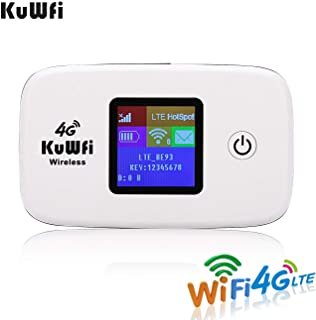KuWFi 4G LTE Mobile WiFi Hotspot Unlocked Wireless Internet Router Devices with SIM Card Slot for Travel Support B1/B3/B38/B39/B41 in Europe Caribbean South America Africa