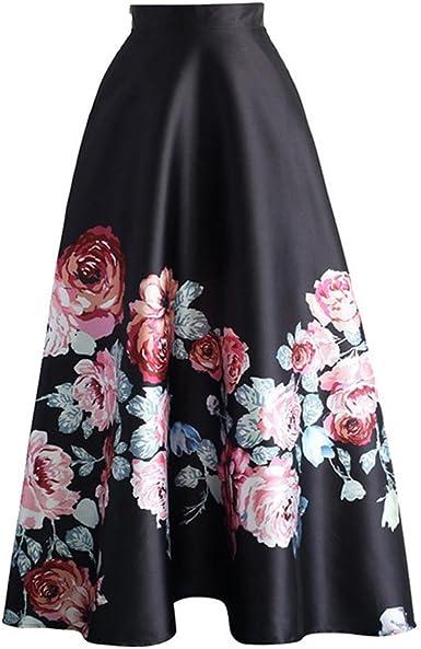Mujer Falda Larga Elegante Patrón de Floral Slim Fit Plisada Falda con Cremallera Moda Cintura Alta Oscilación Skirt Verano Casual Falda SML