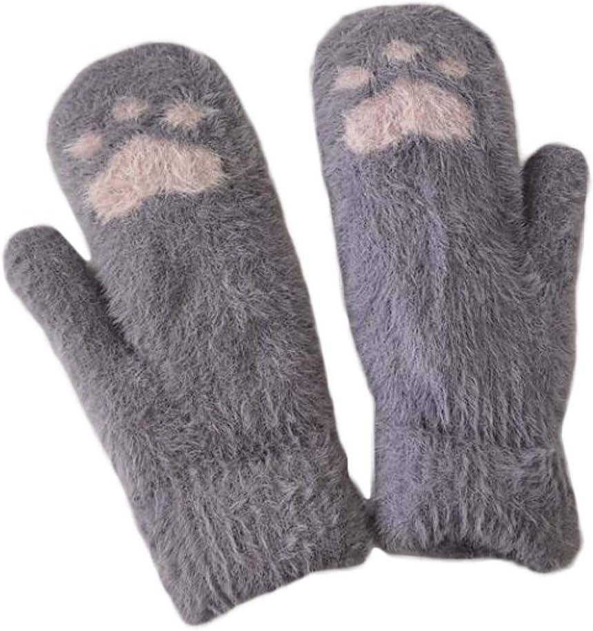 Panda Legends 1 Pair Cute Cat Paw Knit Gloves Winter Warm Cozy Mitten Gloves for Womens Girls, Grey