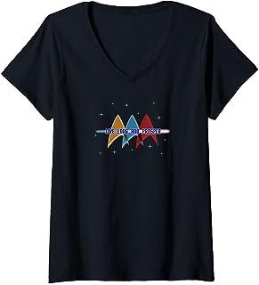 Femme Star Trek: la série originale Live Long et Prosper Deltas T-Shirt avec Col en V