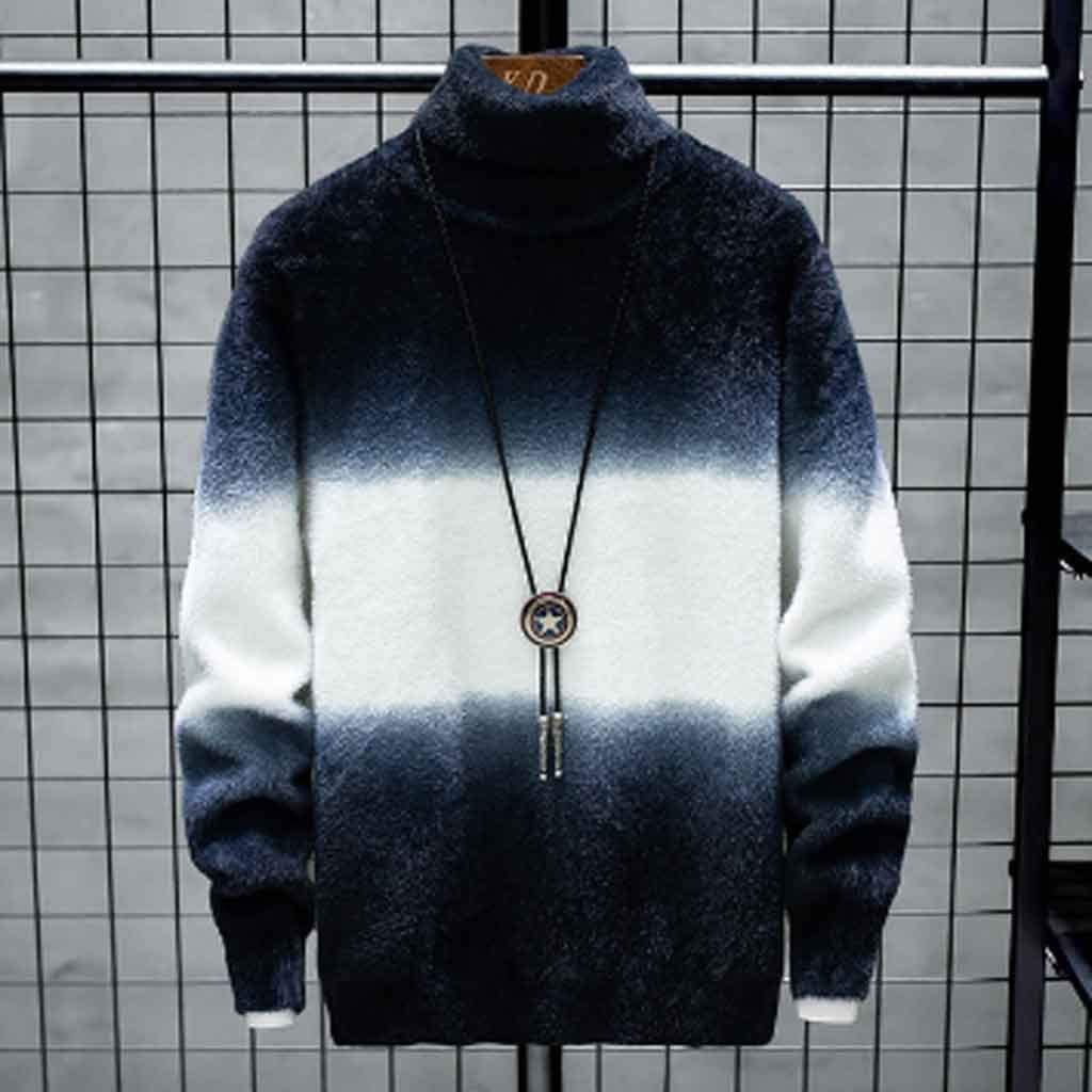 ZYING Cashmere Sweater Men's New Winter Handsome and Thick Warmth Men's Knitwear Fashion Pullover Men (Color : Style 3)