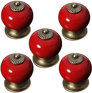 Aestm - Pomos de cerámica redondos para puertas de armarios/cajones perno de armario de porcelana manija antigua casa d...