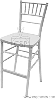 Commerical Seating Products RBB-900K-WH Chiavari White Barstool Steel Core Chairs