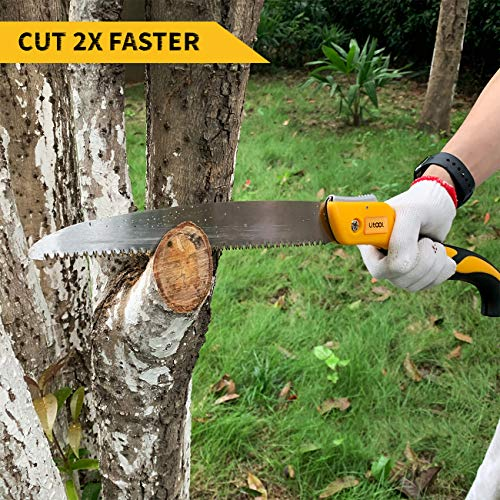 UTOOL Pruning Saw Folding Hand Saw with 10Inch Straight Blade and Japanese Style Triple-bevel Teeth for Pruning Bamboo, Trimming Tree Branches, Cutting Dry Wood, Sawing Bone