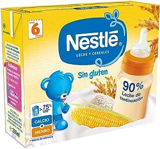 Nestlé Leche y Cereales Sin gluten - Alimento Para bebés - Paquete de 6x2 unidades de