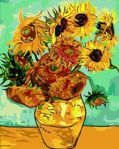 Meecaa Pintura por Números Van Gogh Girasoles Kit de Flores para Adultos Principiantes Pintura al óleo DIY 40,6 x 50,8 cm (girasoles, enmarcados)