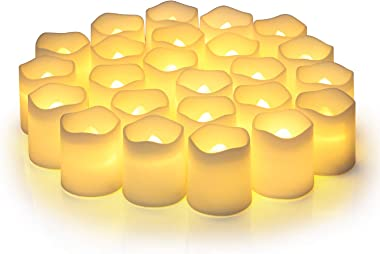 Flameless Votive Candles,Flameless Flickering Electric Fake Candle,Pack of 24,Battery Operated LED Tea Lights in Warm White f