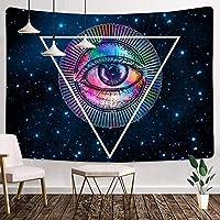 邪眼のタペストリー60X40インチの三角形のパターンのタペストリー家の装飾のための星空のタペストリーサイケデリックな人気の神秘的な壁掛けタペストリー