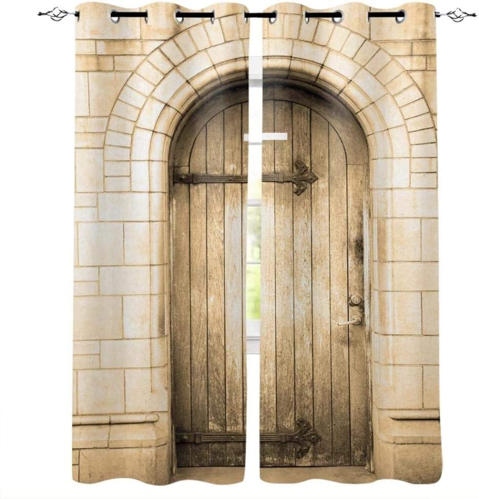 Zzmdmn Wooden Door House Art Under blast sales Cheap mail order sales Curtains Room Living Children B for