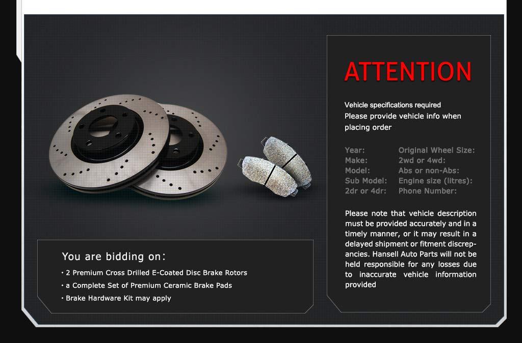 Fit 11-14 Volkswagen Jetta 280mm Front Drilled Brake Rotors Ceramic Pads