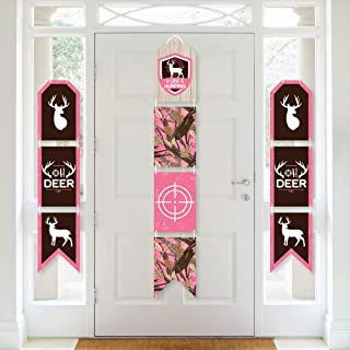 Big Dot of Happiness Pink Gone Hunting - Hanging Vertical Paper Door Banners - Deer Hunting Girl Camo Baby Shower or Birth...
