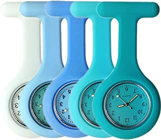 Set of 5 Nurse Watch Brooch, Silicone with Pin/Clip, Glow Pointer in Dark, Infection Control Design, Health Care Nurse Doctor Paramedic Medical Brooch Fob Watch - White to Blue