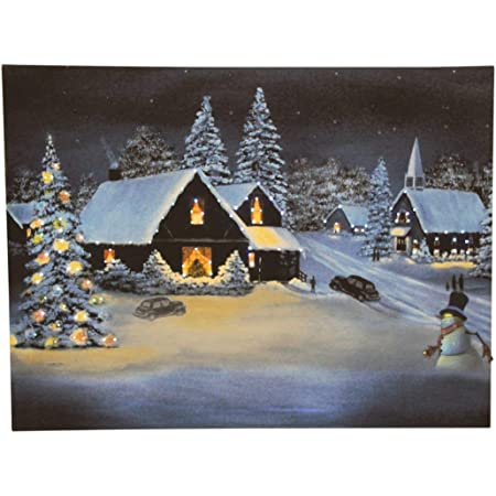 Picture LED Winter Trees 40 Mirko-LEDs Wall Decoration Wall Picture Canvas 40 x 30cm