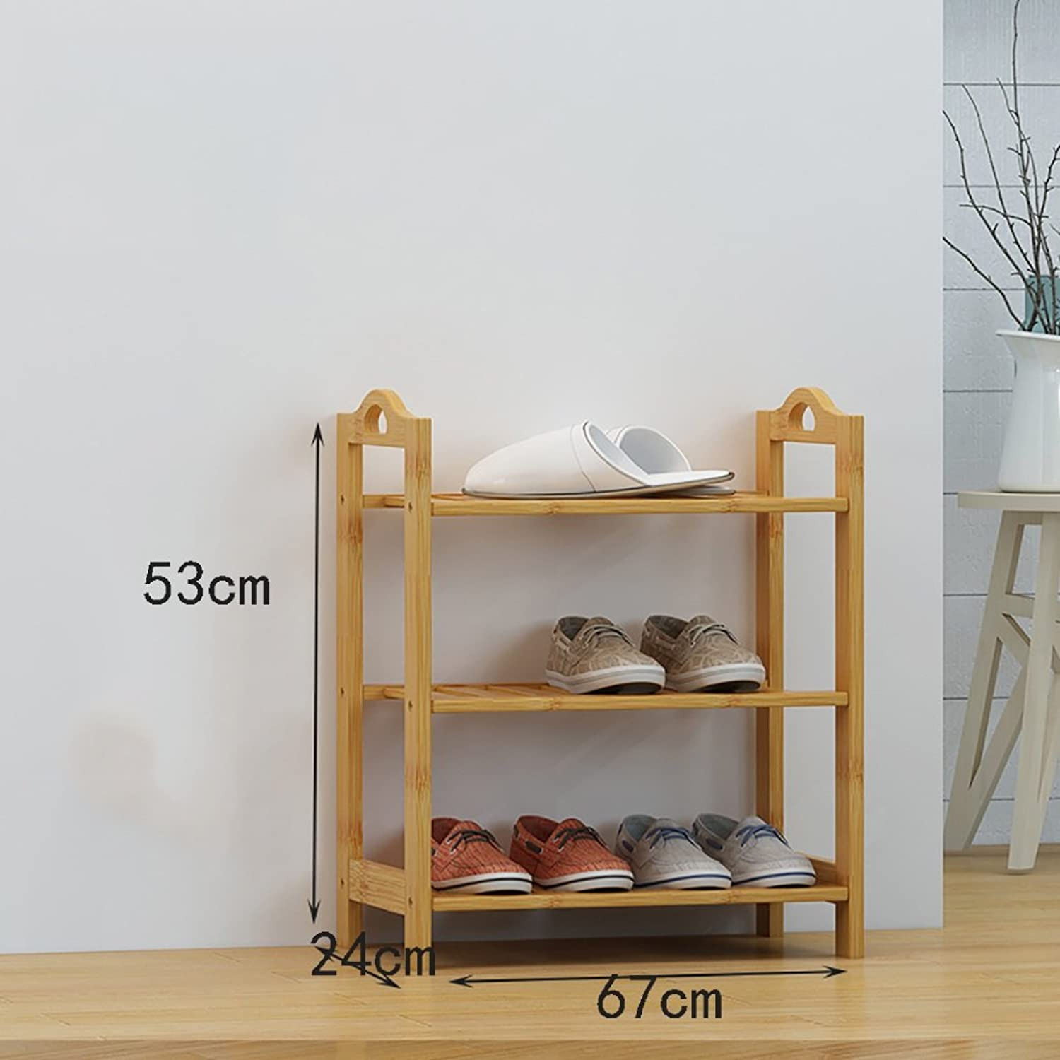 shoes Bench Organizing Rack shoes Rack Bamboo Shelves Creative Indoor shoes Frame Simple Home shoes Cabinet Modern Assembly Shelves (color   A, Size   67cm)