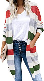 Aiweijia Jerséis De Mujer Sudaderas A Rayas Suéter De Costura En Contraste Cardigans Otoño Invierno Tops Cárdigan Largo De...