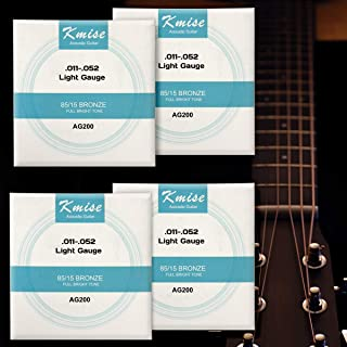 4 Sets Kmise Acoustic Guitar String Phosphor Bronze Light Gauge 0.011-0.052 inch AG200