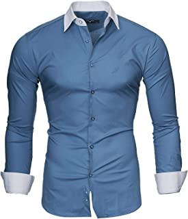 fe7b486d Kayhan Hombre Camisa Manga Larga Slim Fit S M L XL 2XL - Modello Mailand
