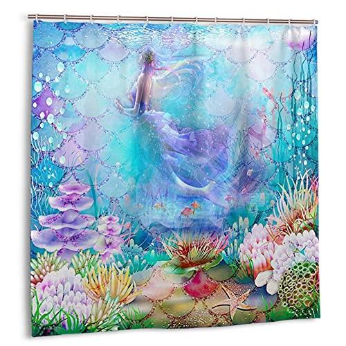 Socira Shower Curtain,Blue Mermaid Dreamy Scale Ocean Under The Sea,Waterproof Bath Curtain for Bathroom,Quick Dry Bathtub Curtains Machine Washable Home Accessories 72''X72''