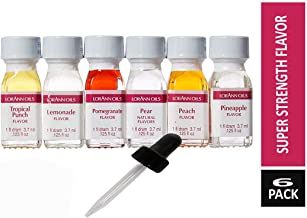 Lorann Oils Super Strength (Tropical punch, Lemonade, Pear, Pomegranate, Pineapple and Peaches) Variety Pack of 6 with free 1 Ounce Dropper.