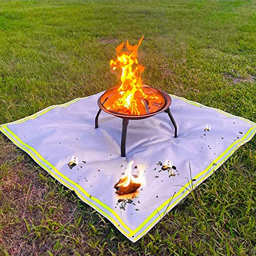 Fire Pit Mat, BBQ Charcoal Grill, Gas Fire Pit, Square Fireproof Mat for Wood Burning Fire Pit, Visible at Night with Reflective Stripe, Protect Your Deck, Patio, Lawn, Grass,47*59 inch /1.2*1.5 m