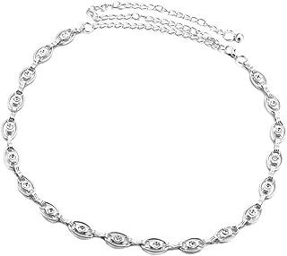 Cintura in argento con strass di cristallo Cintura a catena scintillante Diamante Cinturino alla moda Accessorio per jeans da donna