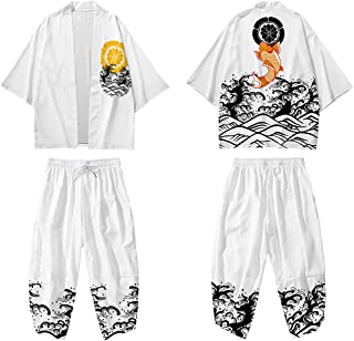 curtain Men Kimono Cardigan Jacket - Japanese Traditional Casual Harem Pants/Spring And Summer Creative Printing Cloak/Ove...