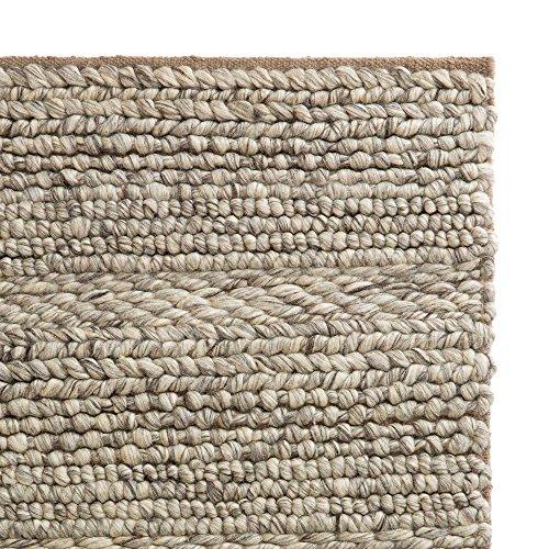 """URBANARA Teppich """"Kalgi"""" aus 100% Woll – und Baumwollmischung, Eierschale/Grau/Hellbraun in Grobstrick – 200 x 300 cm für Wohnzimmer/Schlafzimmer"""