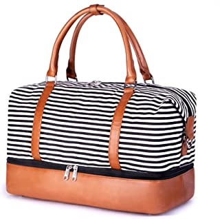SUVOM Women Canvas Travel Tote Bag Weekend Overnight Tote Bag Carry on Shoulder Duffel Bag with PU Leather Strap (Black & ...