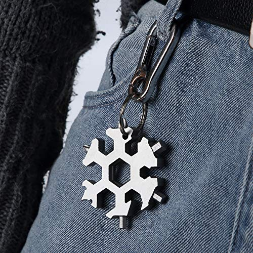 ZS-Juyi Multi-Tool Bike Outdoor Travel Camping Adventure Daily Tool Snowboarding Multi-Tool Spanner Stainless Steel Snowflakes Screwdriver Tool (Silver)