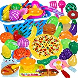Attmu 61 Pcs Pretend Play Food Toy for Kids Play Kitchen Cutting Toys Fake Play Food Sets Early Educational Food with Realistic Basket Gifts