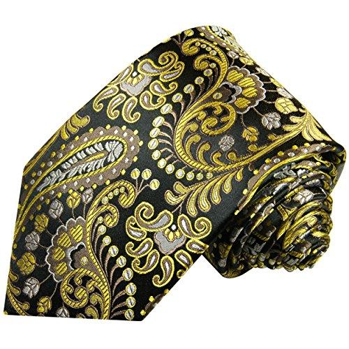 Cravate homme noir jaune paisley 100% soie