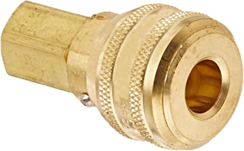 Eaton Hansen 3000SL Brass ISO-B Interchange Pin Lock Pneumatic Fitting, Sleeve Lock Socket with Valve, 1/4