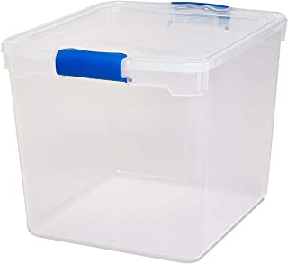 Homz Plastic Storage, Modular Stackable Storage Bins with Blue Latching Handles, 31 Quart, Clear, 4-Pack