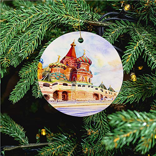 aosup Kremlin and Cathedral/Christmas Ornaments 2020 Christmas Ceramic Pendant Personalized Creative Christmas Decorations Double Sided Christmas Tree Ornament №SW174506
