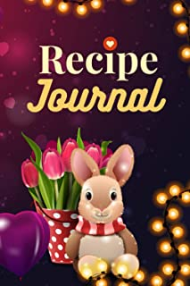 Recipe Journal: For Couples / Spring Bunny Rabbit Tulip Design in Purple Gold / 6x9 Blank Recipe Notebook to Write In / Do...