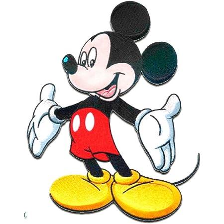 Mickey Mouse XL 'Micky de pie' Disney - Parches termoadhesivos bordados aplique para ropa, tamaño: 20 x 15 cm